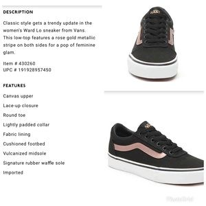 NWT Rose Gold striped Vans NWT